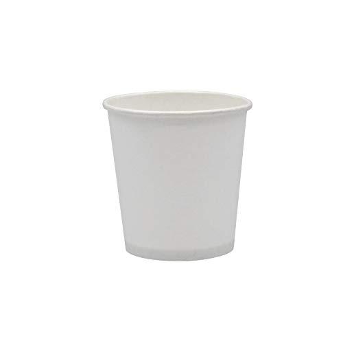 Pack & Cup Bio Kaffeebecher Pappbecher Coffee to Go Einwegbecher Plain White 100 ml (4 OZ) 50 Stück