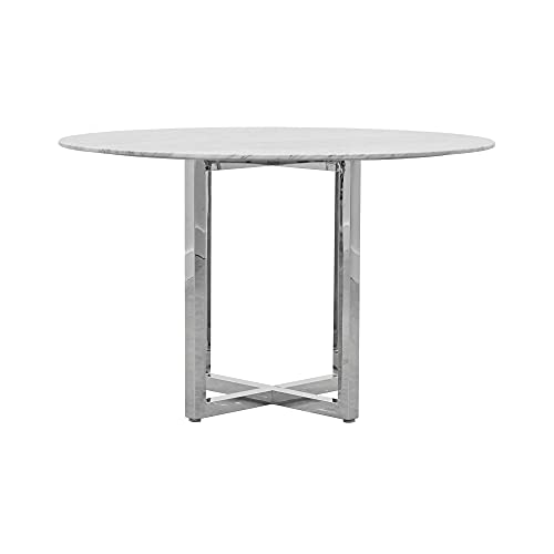 Modus Amalfi 5PC 54' Round Counter Table w Marble Top & 4 Metal Back Counter Stool Set in White