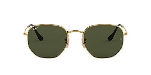 RAY-BAN RB3548N Flat Lens Hexagonal Sunglasses, Gold/Green Polarized, 51 mm