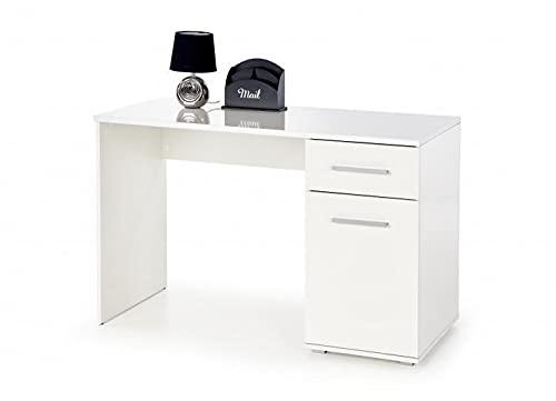 Mesa de escritorio de madera, con 1 cajón y 1 puerta Lima B-1, color blanco, 120 x 55 x 75 cm