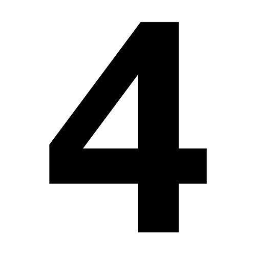 Zahlen-Aufkleber Nr. 4 in schwarz I Höhe 10 cm I selbstklebende Haus-Nummer, Ziffer zum Aufkleben für Außen, Briefkasten, Tür I wetterfest I kfz_673_4