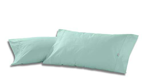 ESTELIA - Pack de Dos Fundas de Almohada Color Aqua - 45x85 cm - 50% algodón / 50% poliéster - 144 Hilos