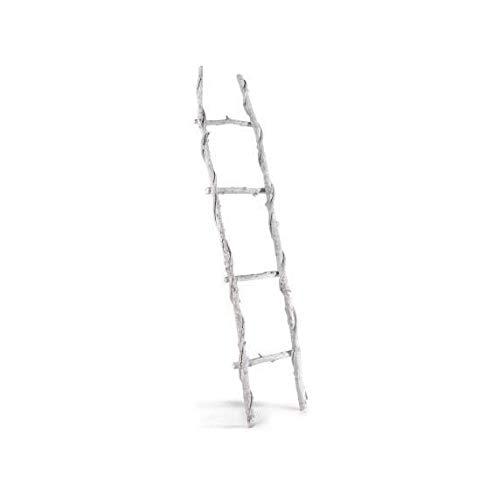 Zenhica Escalera Decorativa Blanco decapado, 4 peldaños. Efecto Vintage Rústico