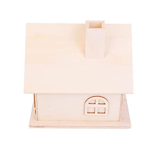 LIXBD 1 x Holzhaus-Sparschwein mit dekorativer Aufbewahrungsbox, unlackiertes Holz, Sparschwein für Kunsthandwerk (Farbe: Bild 2, Größe: 13 x 14 cm)