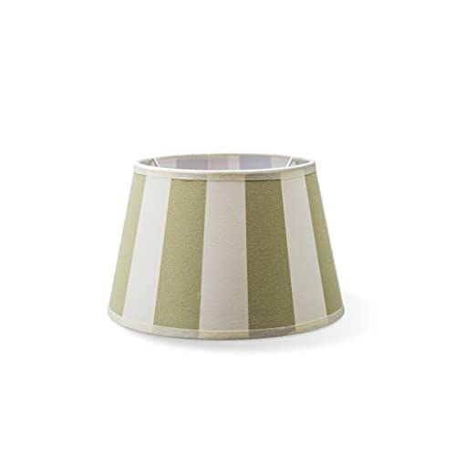 Tulipas redondas | Largo | Pantalla textil | Pantalla cónica | Casquillo E27 | Diámetro 20 cm altura 13 cm | Verde/Blanco | Adecuado para todos los interiores IP20 | Adecuado para lámpara LED
