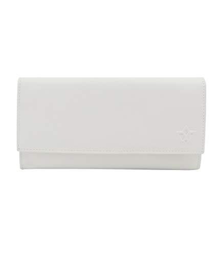 WASAMA - Portafoglio lungo da donna in vera pelle, con scomparti per carte di credito, scomparto per telefono, portamonete con cerniera e RFID in tonalità crema/bianco/grigio/magenta
