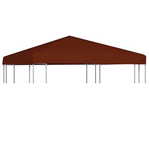 Ksodgun Toldo de cenador, Cubierta de Terracota para pabellón Exterior 3 x 3 m -con Revestimiento de PVC y 16 Cierres de Gancho y Bucle