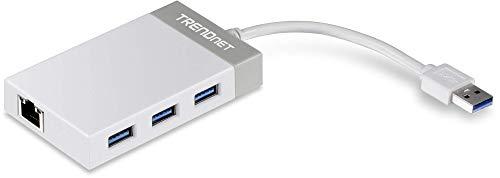 TRENDnet TU3-ETGH3 - Adaptador USB 3.0 a Gigabit 10/100/1000 Mbps y hub USB 3.0 5 Gbps