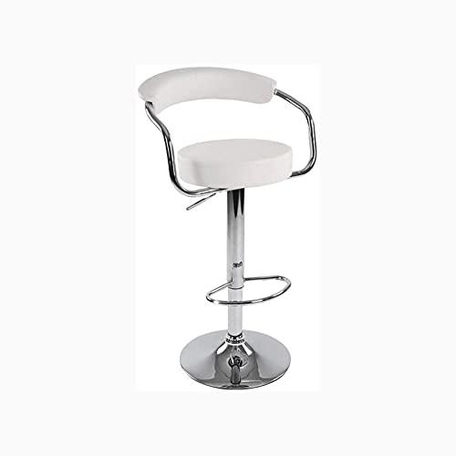 Qks Taburete Alto con Respaldo Sillas de Altura Ajustable Silla de Comedor giratoria de 360 ° Taburete de uñas Adecuado para área de Descanso Área de Entretenimiento Oficina,Blanco