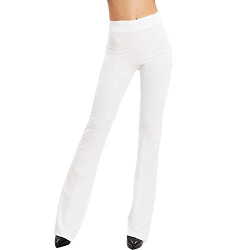 Toocool - Pantaloni Donna Campana Aderenti Zampa Elefante Elasticizzati Hot Sexy JL-2148 [S,Bianco]