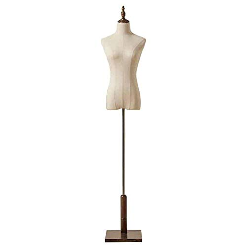 Maniqui Costura Torso de Maniquí Femenino Blanco con Soporte Cuadrado de Madera, Exhibición de Ropa de Forma de Vestido de Mujer para Tiendas en Línea/Fotos/Exposición