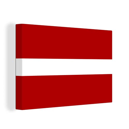 Leinwandbild - Nahaufnahme der Flagge von Lettland - 60x40 cm