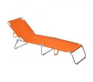 2309 Silla plegable con respaldo ajustable para playa o jardín - Naranja