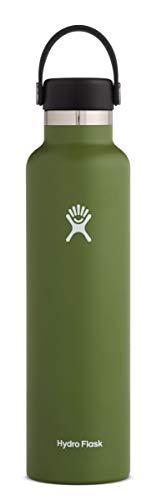 Hydro Flask Gourde isotherme 709 ml (24 oz) en acier inoxydable avec isolation sous vide et bouchon Flex Cap étanche, goulot standard, Olive
