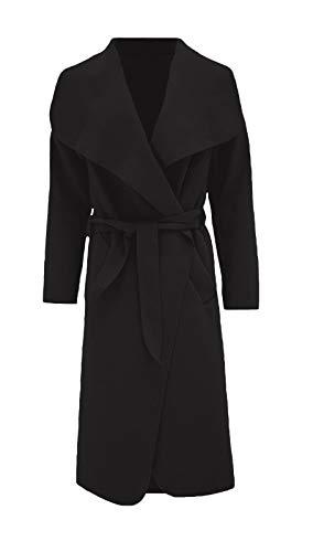 Hina Fashion Frauen-Damen Italienisch Wasserfall Belted Langarm-Mantel-Jacken-Top (One Size Fits 8-16, Schwarz)