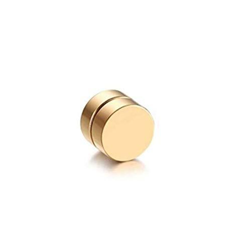 LUOSI Redondo Hermoso Círculo No Piercing 1 UNIDS Imán Fuerte Magnético para Hombre Clip De Oreja Ao6mm / 8mm / 10mm / 12mm5 Colores Pendientes para Niñas (Main Stone Color : Gold, Metal Color : 6MM)