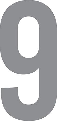 ShirtInStyle Zahlen selbsklebende Aufkleber, von 2-20cm Höhe, Mülltone, Haustür, Basteln, Boote, Nummern, Kennzeichen, Zahl 9-12cm, Silber