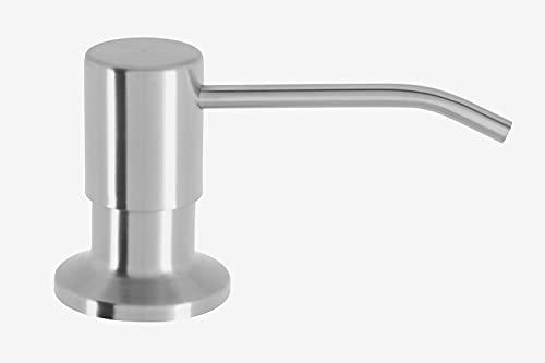 Mizzo Dispensador de Jabón Liquido para Fregadero | en Acero Inoxidable | Rotación 360° | Dosificador de Detergente - Desinfectante de Manos | Cocina/Baño (con Frasco 300ml, Acero Inoxidable)