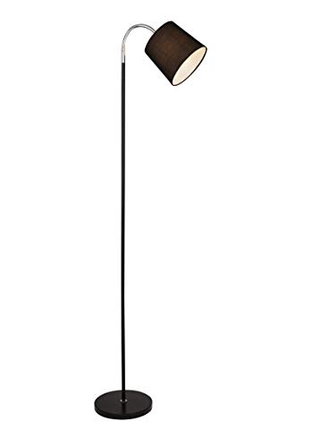 Lighting Collection Traditional 1 Light Flexible Head Floor Lamp with Black Drum Shade, Black and Chrome