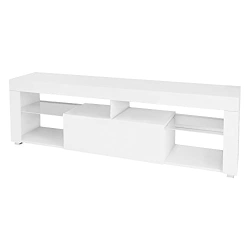 ML-Design Mesa de TV de Madera en Blanca 140x51x35 cm Gabinete para Televisón Mueble Moderno Aparador con Espacio de Almacenamiento Tablero de Pie Mesita con Cajón y 2 Estantes de Cristal
