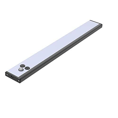 LED Movimiento Sensor Aluminio Aleación Noche Luz USB Recargable Lámpara Noche para Armario Armario Escaleras Cocina 3 Color (Emitting Color : Black)