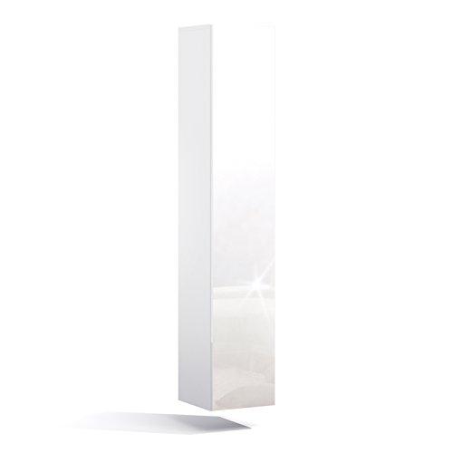 PlatanRoom Badezimmer Hängeschrank Wandschrank 160cm hoch Badhängeschrank mit Fronten in Hochglanz Weiß Matt/Weiß Hochglanz