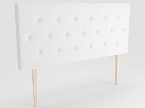 LA WEB DEL COLCHON - Cabecero tapizado Melania Big para Cama de 105 (115 x 115 cms) Blanco   Cama Juvenil   Cama Matrimonio   Cabezal Cama  