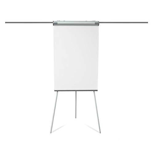 Certeo Flipchart mit Dreibein-Stativ | HxB 1050 x 680 mm | Klappbar | Mit Papierhaltern | BxH 680 x 1050 mm | Whiteboard Tafel Schreibtafel