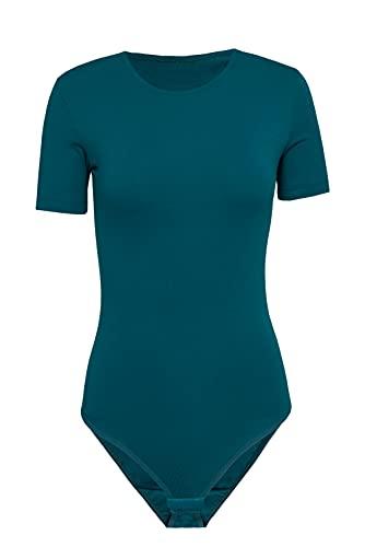 Evoni Body para mujer, manga corta, opaco, de algodón. petróleo S