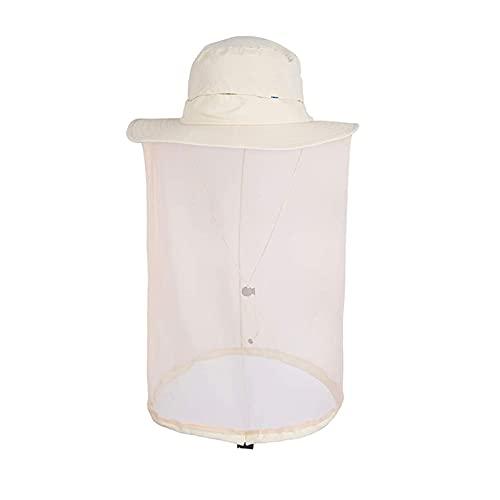 Kine - Cappello da uomo con zanzariera plissettata, da donna, anti UV, per respingere gli insetti, colore: beige