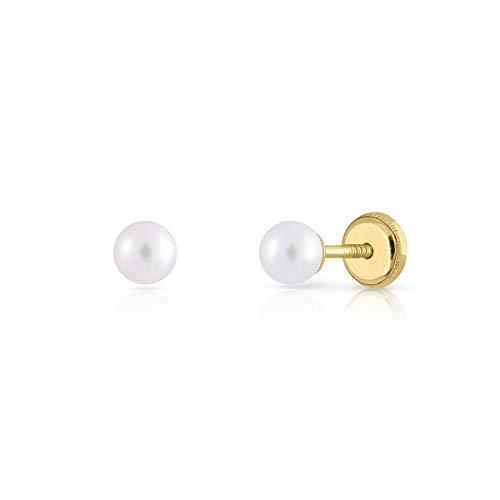 Pendientes oro 18k, bebe recien nacida, niña o mujer, modelo clásico perla cultivada natural DE calidad. de 3-4-5-6-7-8 milímetros. Con cierre de rosca o presión. (4 MM - ROSCA)