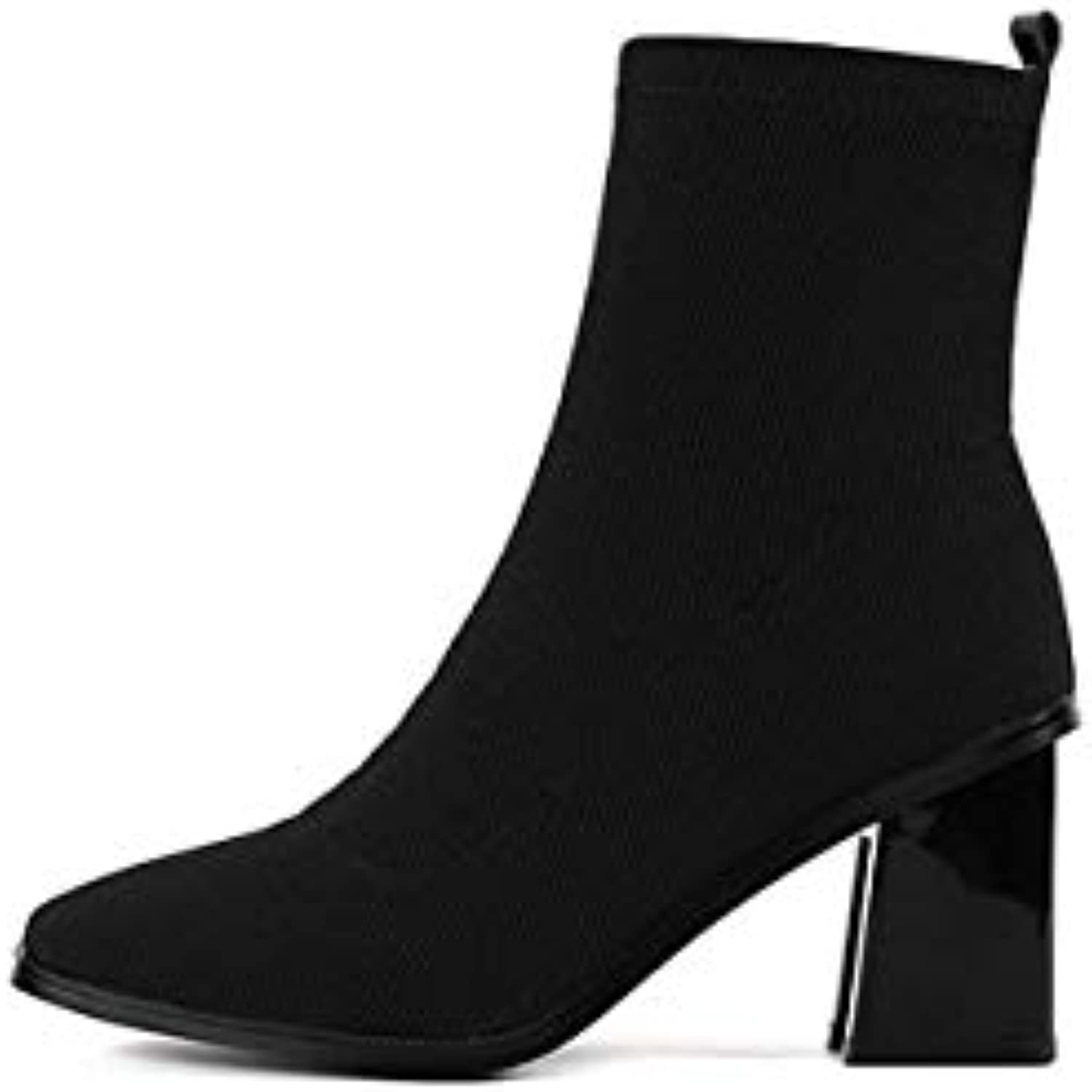 Fumak 2018 Women Stretch Boots Women Fashion Red Yellow Woman Ankle Boots Warm Square Toe High Heels Boots