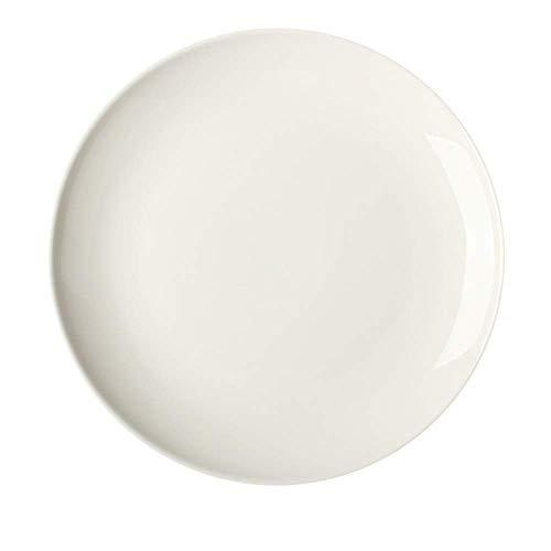 LHQ-HQ Nordic Ceramic Tableware Matt Western Food Flat Plate Steak Salad Pizza Plate Restaurant White 22.2X2.5Cm