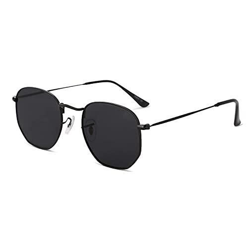 Gafas de sol para mujer espejadas pequeñas y cuadradas, con marco de espejo, ligeras, gafas de sol vintage, incluye funda, negro/gris,