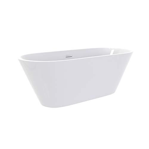 i-flair Freistehende Badewanne LUGANO Design 160 x 80 cm - aus Acryl in Weiß – verschiedene Größen