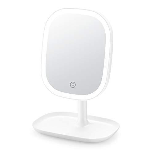 KANJJ-YU Encendidos De la Vanidad Espejo de Maquillaje, Luces LED de la Pantalla táctil y de Carga USB Soporte Ajustable 180 Grados for la encimera Maquillaje cosmético Espejo Espejo
