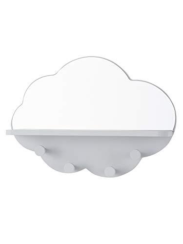 Vertbaudet Regal Spiegel Wolke mit Haken, grau, Einheitsgröße