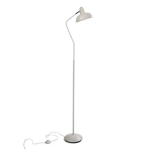 Versa 20840050 Lámpara de pie de Metal Blanca, 150 x 22 x 29,5 cm