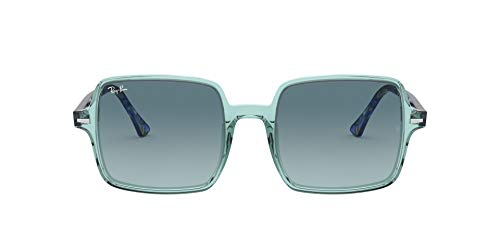 Ray-Ban Women's RB1973 Square II Sunglasses, Transparent Green/Blue Gradient Grey, 53 mm