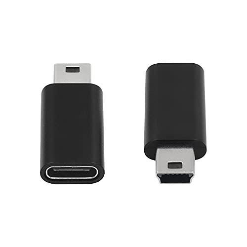 Duttek Adaptador USB tipo C, adaptador USB C a Mini USB, USB C tipo C hembra a mini USB macho compatible laptops/tabletas, reproductor MP3, cámara digital, etc. (negro)