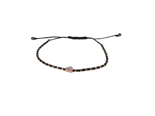 DKARY Pulsera Corazón Oro Rosa de Hematite con Cristales Miyuki Autoajustable (Negro)