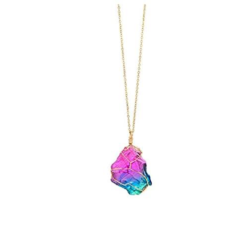 GGOOD Natural Rainbow Stones Fluorite Gemstone Roca Cristal Hexagonal Punto Reiki Chakra Colgante Péndulo 1 PC Four Seasons Artículos de Moda