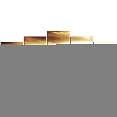 YOUMEISU Leinwand Malerei Wandkunst Modulare Bilder 5 Stücke Wüstenlandschaft Surrealismus Fantasie Sanduhr Sandburg Zeit Stücke Wikinger Film HD Druck Poster Home Dekorative