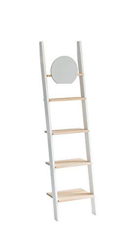 Ragaba ASHME Leiterregale 45 Estanterías de Escalera, Blanco, 45 x 180