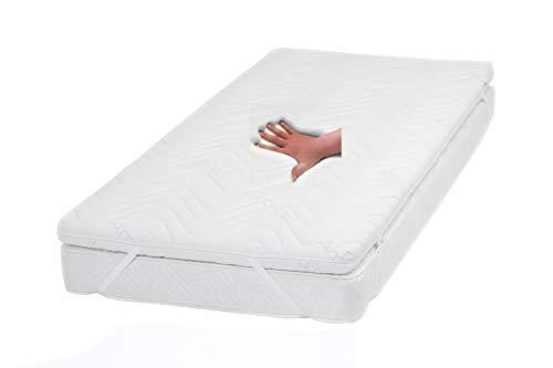 Gel / Gelschaum Matratzenauflage Topper Höhe 12 cm, 120 x 200 cm Memory Schaum mit Amicor pure Bezug, Auflage für Matratze soft / weich = Schlafen wie auf einem Wasserbett ohne seine Nachteile