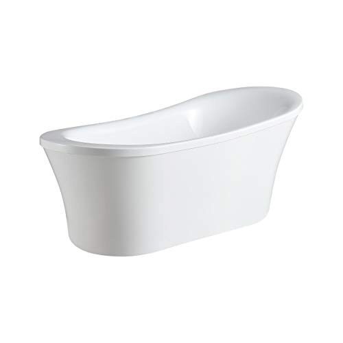 Ove Decors Freestanding Bathtub in Glossy, Contemporary Soaking Tub with Chrome Pop Up Drain and Waste Overflow, 70 inches, Rachel 70 White