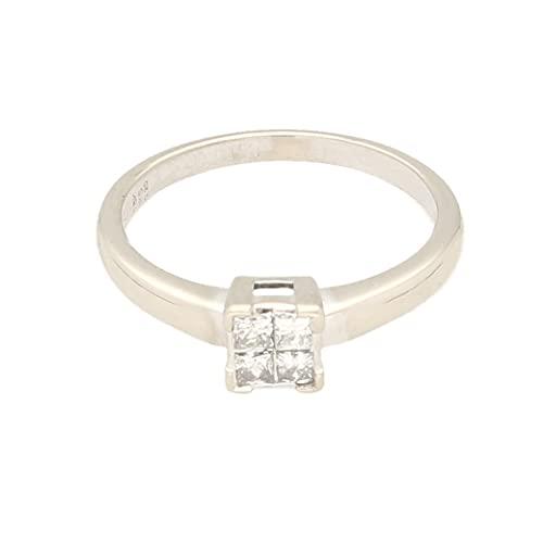 Anillo para mujer de oro blanco de 18 quilates de 0,25 quilates de corte princesa (tamaño L 1/2) cabeza de 4 x 4 mm, anillo de lujo para mujer