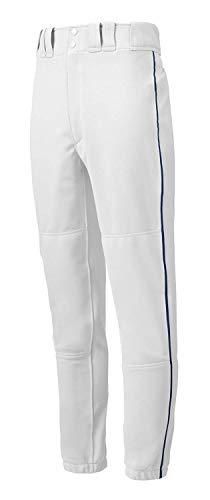 Mizuno Youth Premier Paspelierte Hose (Weiß/Marineblau, X-Large)