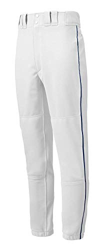 Mizuno Youth Premier Piped Pant (White/Navy, X-Large)