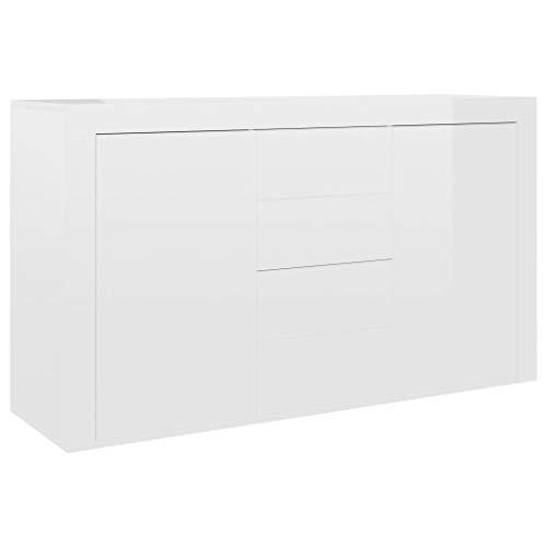vidaXL Aparador Muebles de Cajones Almacenaje Buffet para Salón Comedor Dormitorio Casa Oficina Hogar de Aglomerado Blanco Brillante 120x36x69 cm